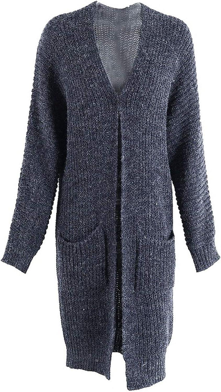 Toyshops Winter Knitted Sweater Long Cardigan Women Autumn Sleeve Pocket Streetwear Loose Sweater Jumper