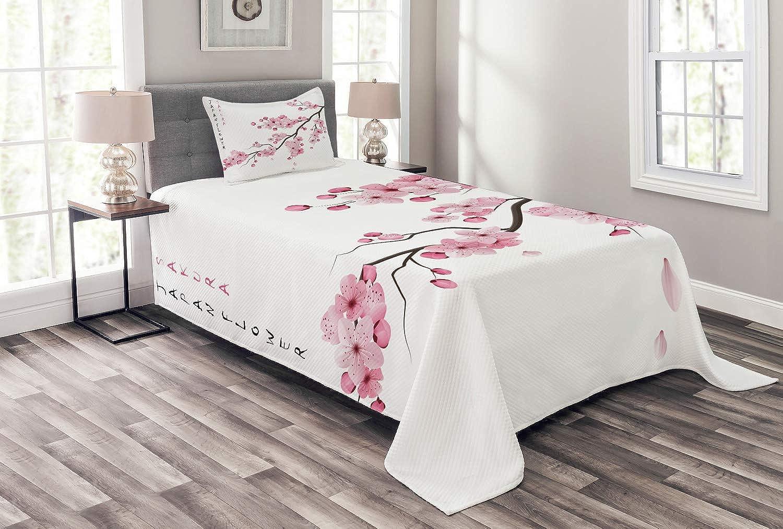 ABAKUHAUS ABAKUHAUS ABAKUHAUS asiatisch Tagesdecke Set, Japanischer Kirschzweig, Set mit Kissenbezug Feste Farben, für Einselbetten 170 x 220 cm, Weiß Rosa B07KWSM3D1 9ce0b2