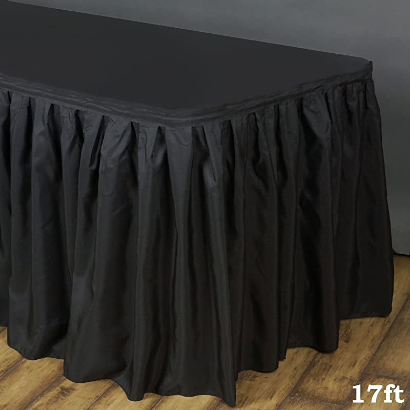 Tableclothsfactory 17ft Black Accordion Pleat Polyester Table Skirt For Kitchen Dining Catering Wedding Birthday Party Decorations Events