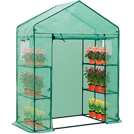 EAGLE PEAK 61'' x 28'' x 79'' Walk-in Greenhouse, 2 Tier 4 Shelves Portable Plant Gardening Greenhouse, Front Roll-Up Zipper Entry Door and 2 Roll-Up Side Windows
