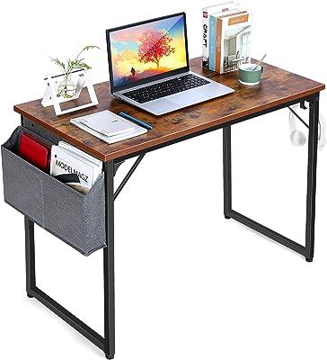 パソコンデスク PCデスク ワークデスク ゲーミングデスク 学習テーブル サイドポケットとイヤホンフック付きの収納テーブル テレワーク ホームオフィスデスク80/100/120 CM(なブラウン)