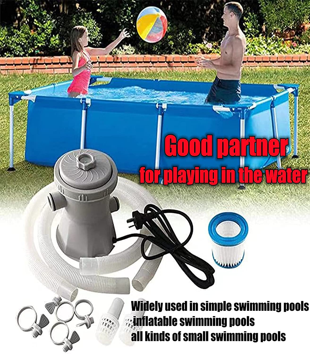 Buy Ueemph 300gph Filter Pump Mute Efficient Low Maintenance Cost Used To Above Ground Pools Small Swimming Pool Filter Pump Electric Filter Pump 110 120v With Gfci Online In Indonesia B091mht1l4
