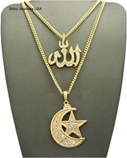 Mens ICED Out Gold Silver Allah Five Percenter Islam WE The Best Pendant Box Chain Necklace