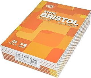 10-Piece White Bristol Pads, 240 gsm, A4 Size (20 Sheets x 10 Pcs) - FSPDA4240-20