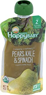 Happy Baby, Clearly Crafted Stage 2 Organic Baby Food, Pears Kale and Spinach, 4 oz, Clear Pouches Let You See Every Delic...