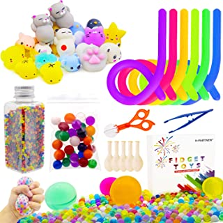 H-Partner Relieves Stress and Increase Focus Bundle Sensory Toys-Fidget Chain/Magic Cube/Liquid Motion Timer/Mochi Squishies Toys/Water Beads for ADD ADHD