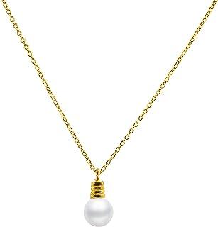 Collar de Perla Cultivada Redonda de 7,5 a 8 mm de Agua Dulce - Cadena y Colgante de Plata de Ley de 925 milésimas Bañada en Rodio o en Oro de 18k 40 o 45 cm de Largo.