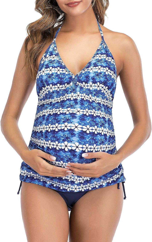 Zando Maternity Swimwear Tankini Bathing Suits for Women Backless Maternity Bathing Suit V Neck Plus Size Swimsuits
