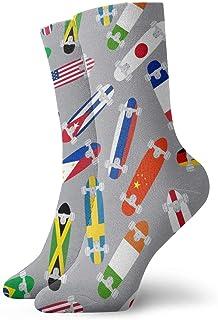 Luxury Calcetines de Deporte Various Skateboards With Flags Pattern Unisex Socks, All-Season Casual Comfortable Soft Ankle Socks Crew Socks