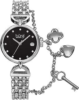 Burgi Women's Swarovski Crystal Accented Mother of Pearl Dial Charm Bracelet Watch - BUR172