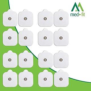 MED-FIT 5x5cm Flexi iSTIM 16 x 3.5mm Stud (tipo snap/boton) TENS Almohadillas autoadhesivas encajan con BEURER, SANITAS y VIRTUALMENTE todas las Maquinas de masaje TENS en Amazon.