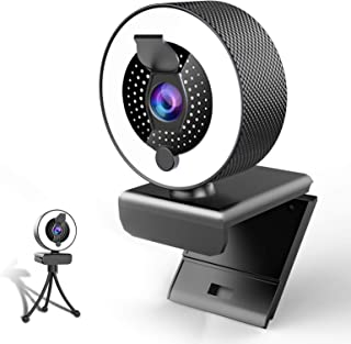 2k Webcam with Microphone Ring Light-HD Web Cam with Privacy Cover&Tripod for Desktop/Laptop/PC/MAC,Web Cameras for Comput...