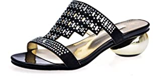 Large Size 34-43 med Heels Shoes 4cm Rhinestone Two Colors Summer Shoes Sandals Women Party Shoes PU
