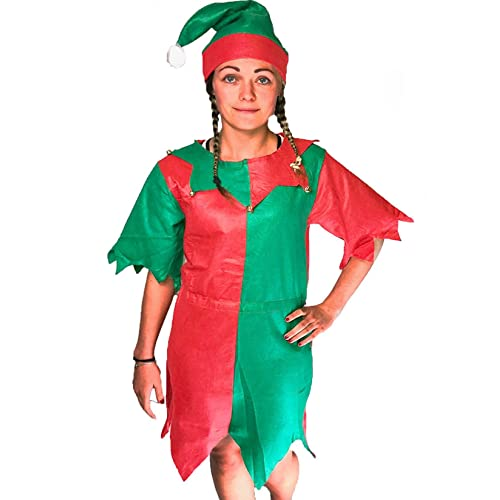 febbed17ad Ladies Adult ELF Costume Christmas Fancy Dress Green and RED Santa Little  Helper