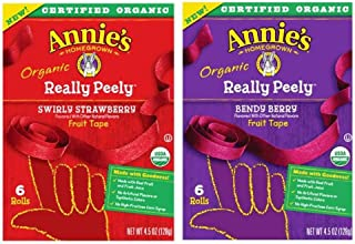 Annie's Homegrown Organic Really Peely Fruit Tape 2 Flavor Variety Bundle: (1) Annie's Really Peely Swirly Strawberry Fruit Tape, (1) Annie's Really Peely Bendy Berry Fruit Tape, 4.5 Oz Ea (2 Boxes)