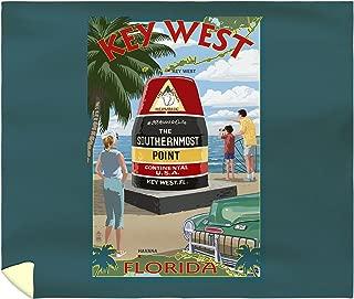 Lantern Press Key West, Florida - Southernmost Point 33341 (88x104 King Microfiber Duvet Cover)