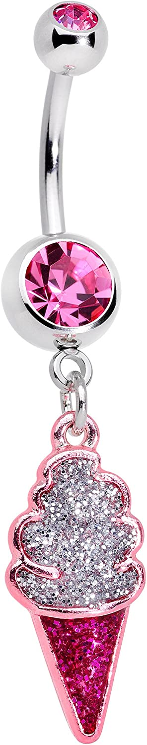 Body Candy 14G 316L Steel Navel Ring Piercing Color Accent Ice Cream Cone Belly Button Ring 11mm