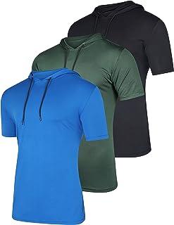 3 Pack: Mens Dry Fit Moisture Wicking Short Sleeve Active Athletic Hoodie Pullover Sweatshirt