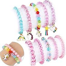 G.C 10 PCS Girls Kids Rainbow Beaded Bracelet with Cute Unicorn Rainbow Heart Star Pendant Stretchy Costume Jewelry Set Gi...