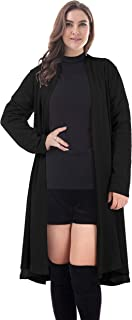 Women's Plus Size Open Front Casual Cardigan Cotton Knit Outerwear Sweater Long Sleeve with Pockets