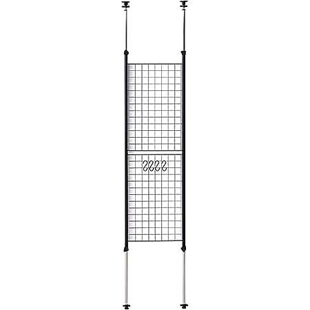 [山善] 突っ張り パーテーション 幅45cm メッシュ 高さ調節(166.5-295.5cm) フック付 アジャスター 壁面 賃貸 収納 組立品 ブラック SP-45(MBK)