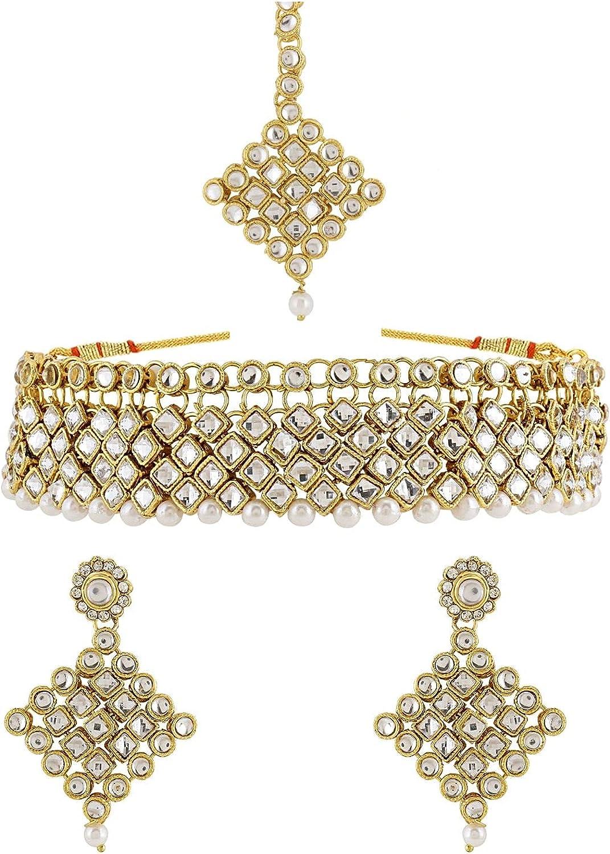 Efulgenz Indian Jewelry Choker Necklace Maang Tikka Earrings Bollywood Wedding Crystal Necklace Earrings Head Chain Set