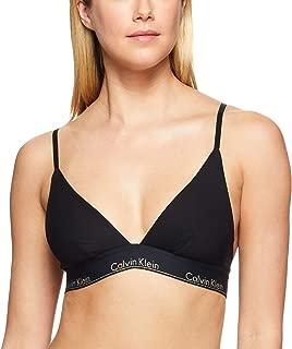 Calvin Klein Women's Modern Cotton Unlined Triangle Bralette, Black with Gold Logo