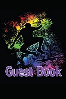 Guest Book: Rainbow Skater Guest Book for vacation Home -110 Lined Pages