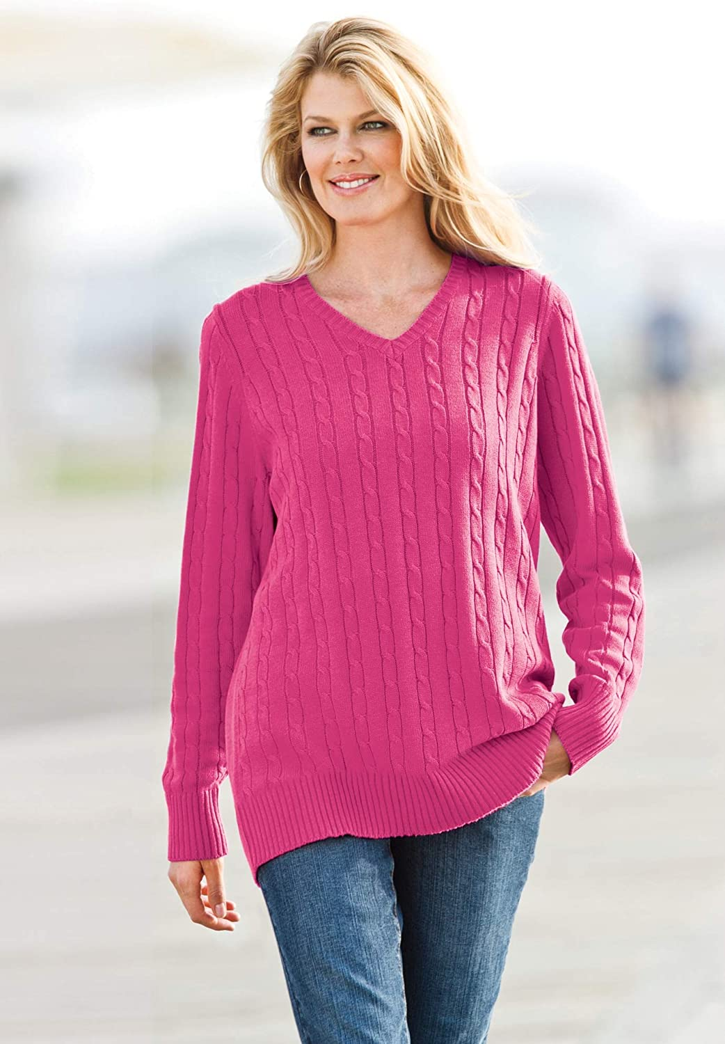 Woman Within Women's Plus Size Cable Knit V-Neck Pullover Sweater