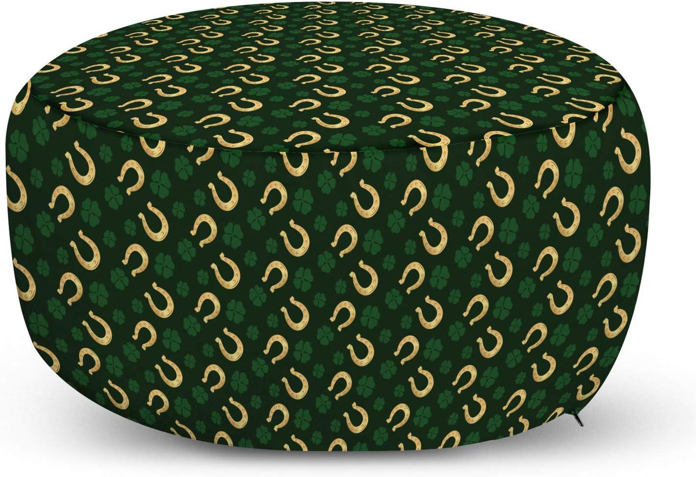 Lunarable Horseshoe Philadelphia Mall Pouf Cover with Them Large-scale sale Patricks Zipper Day St