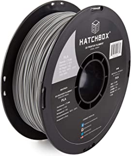 HATCHBOX 3D PLA-1KG1.75-CG6C PLA 3D Printer Filament, Dimensional Accuracy +/- 0.05 mm, 1 kg Spool, 1.75 mm, Gray