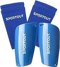 Sportout Voetbalbeschermers voor volwassenen en jongeren, uitgebreide bescherming voor je benen, met gewatteerde enkelbesc...