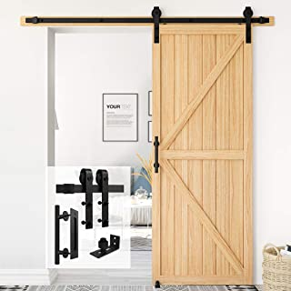 Homlux Heavy Duty Sliding Barn Door Hardware Kit for Bedroom Dinning Room 6FT SET Round[Single Door] Black