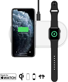 Apple MFi Certified Wireless Charger 10W Qi Charging Stand, 2 in 1 Wireless Charging Pad for Apple Watch/iPhone/AirPods/Charging Pad for iPhone 11/11 Pro Max/XR/XS Max/XS/X/8/8P(QC Adapter Included)