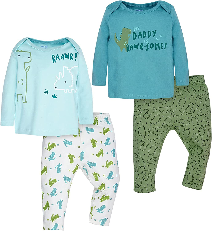 WINK & BLINK Dino Explorer Organic Baby Pajamas, 2-Pack Top & Bottom Set, 100% Organic Cotton Baby Clothes
