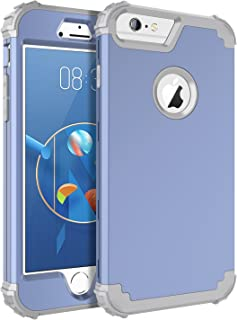 BENTOBEN iPhone 6 Plus Case, iPhone 6S Plus Case, 3 in 1 Hybrid Heavy Duty Rugged PC Shockproof Silicone Cover Full Body Protective Phone Case for Apple iPhone 6 Plus/iPhone 6S Plus, Coral Blue