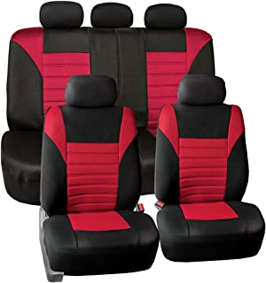 FH Group FB068RED115 Universal Car Seat Covers Premium 3D Airmesh Design Airbag and Rear Split Bench Compatible Red
