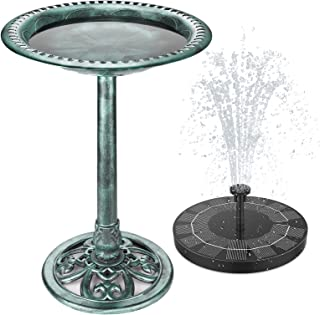 AISITIN Bird Bath with 2.5W Solar Fountain, Outdoor Green Garden Bird Bath and Solar Powered Round Pond Fountain Combo Set, Used in Gardens, Ponds, Swimming Pools and Other Places