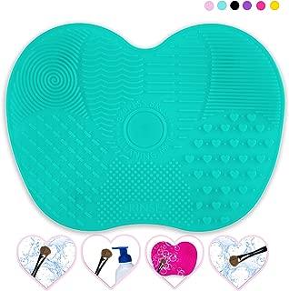 Makeup Brush Cleaner Mat, Makeup Brush Cleaning mat, Brush Cleaning Mat, Portable Brush Cleaner Mat, Brush Cleaner Mat, Makeup Cleaner for Brushes, Small (Mint Green)