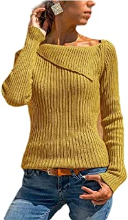 Women's Boat Neck Ribbed Knitted Jumper Sweater Long Sleeve Slim Fit Pullover Yellow L