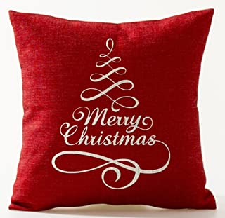 Simple Letters Christmas Tree Merry Christmas in Red Cotton Linen Throw Pillow Case Cushion Cover Home Office Decorative S...