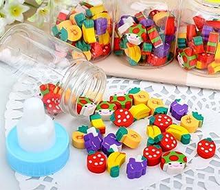 Un ncie Useful School Supply Sets 1 Set Baby Bottle Mini Cute Erasers for Kids Gift(Fruit)