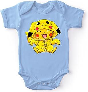 Okiwoki Body bébé Manches Courtes Garçon Bleu Parodie Pokémon - Pikachu Cosplayé en. Pikachu ! - Imbattable dans Les Conco...