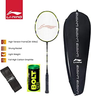 Li-Ning SS-G5 Series Carbon-Graphite Strung Badminton Racquet with Bolt Pro Nylon Shuttle, Pack of 3 & Free Racket Cover and Free One Grip