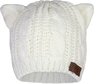 Elliott and Oliver Co. Kitty Cat Ears Beanie Cable Knit Hat- Thick Sherpa Fleece Lined Winter Stretch Cap w/Tag