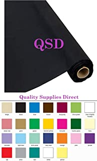 QSD Plastic Party Banquet Table Cover Roll - 300 ft. x 40 in. - 8ft Table Covers (Black) (26 Colors Available)