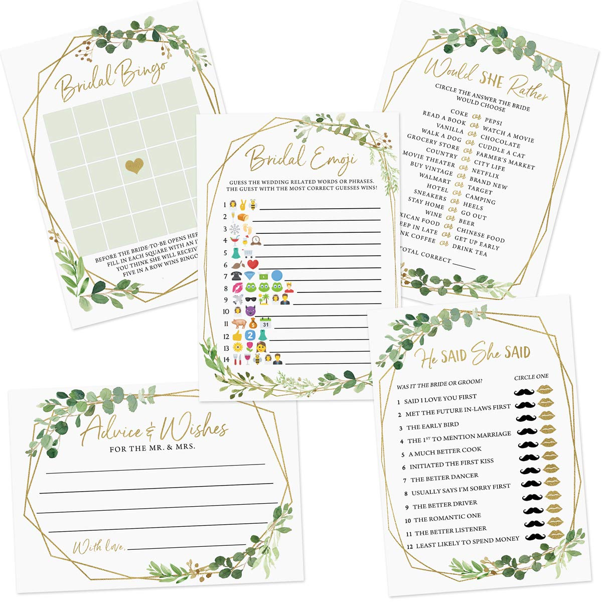 Bridal Shower Shower Game Set, 5 Games, 250 sheets, Gold Greenery Theme, Bridal Bingo, Emoji Pictionary, Advice and Well…