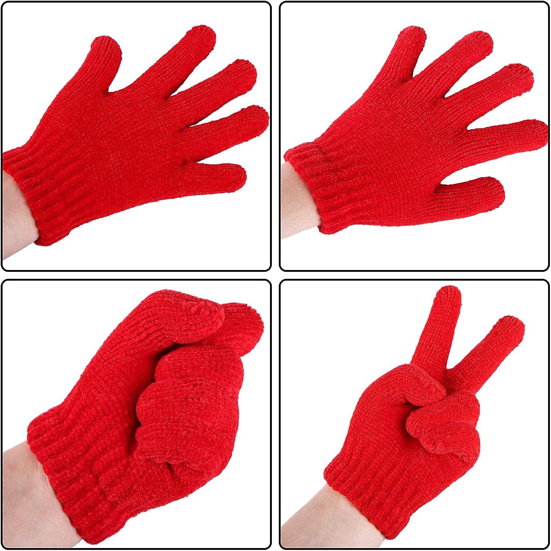 per ragazzi e ragazze cashmere elasticizzati lavorati a maglia Cooraby 12 paia di guanti caldi per bambini in ciniglia