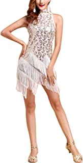 Whitewed Roaring 1920s 20s Sequin Tassel Paisley Flapper Girl Costume Dress