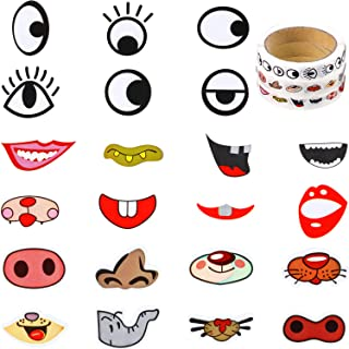 3 Rolls Eye Stickers Colorful Eye Nose Mouth Cartoon Stickers Eyeball Stickers Labels for Children Art Craft DIY Party Decor Scrapbook Water Bottle (Style A)